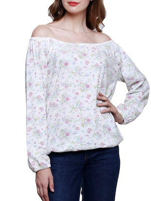 white floral printed cotton top
