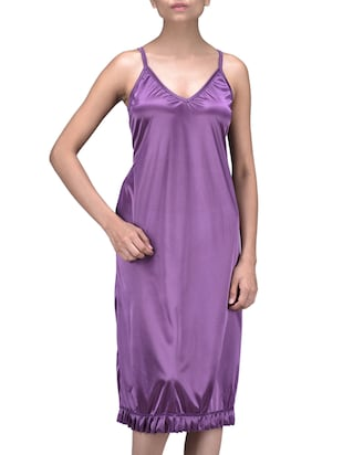 Solid Purple Polyester Knitted Sleeveless Nightie