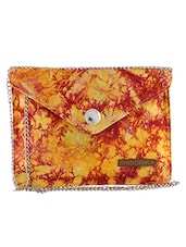 Yellow And Red Printed Cotton Sling Bag - By