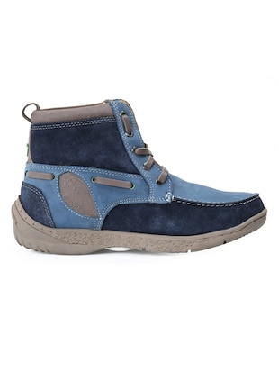 blue leather lace up boots - 12336469 - Standard Image - 2