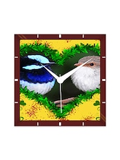 Multicolor Engineering Wood Sparrow Pattern Wall Clock - By
