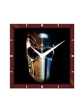 Multicolor Engineering Wood Mask Man Wall Clock - By