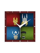 Multicolor Engineering Wood Avengers The Super Hero Wall Clock - By