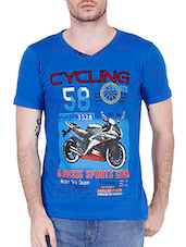 blue cotton printed t-shirt -  online shopping for T-Shirts