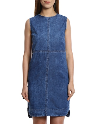 solid blue denim dress