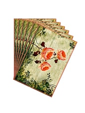 Leaf Designs Peach Vintage Table Mats - Set Of 6 - By