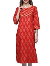 Red Cotton Block Printed Straight Kurta - By