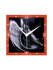 Multicolor Engineered Wood Devil With Angel Wings Wall Clock - By