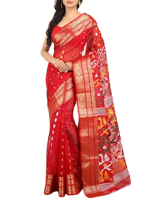 Red Silk Blend Jamdani Saree -  online shopping for Sarees