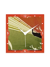 Multicolor Engineered Wood Different Green And Red Pattern Wall Clock - By