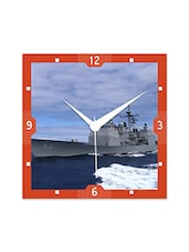 Multicolor Engineered Wood Amazing Ship In Sea Wall Clock - By