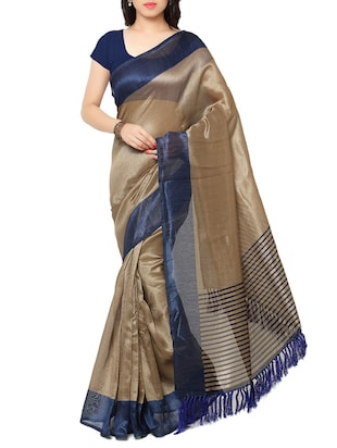 blue silk blend saree with blouse -  online shopping for Sarees