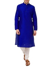 blue dupion kurta -  online shopping for Kurtas