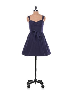 Navy Blue Polka Dotted Dress - Chemistry