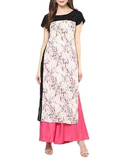 White Rayon Printed Long Kurta - By