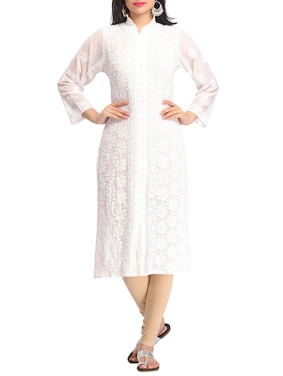 white georgette straight kurta