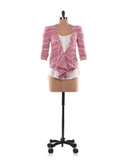 White And Red Striped Jersey Jacket With Exaggerated Shoulders - Chemistry