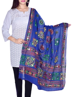 Blue Cotton Embellished Dupatta