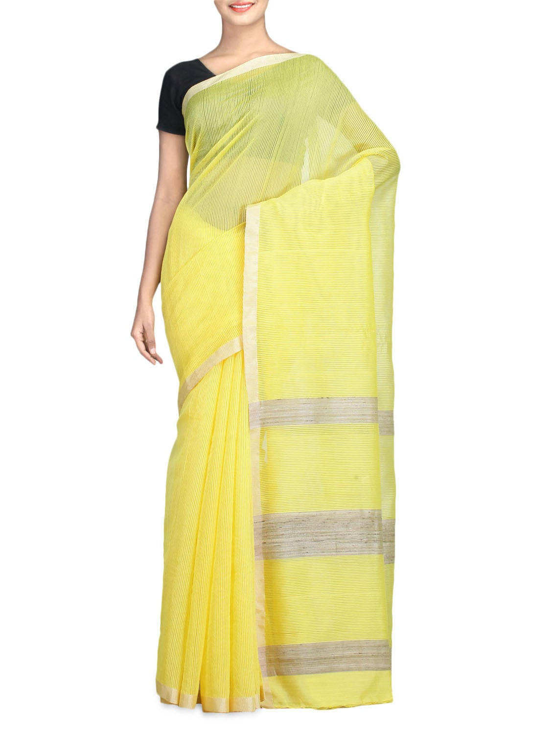Yellow Color Art Silk Ghicha Viscose Saree - By