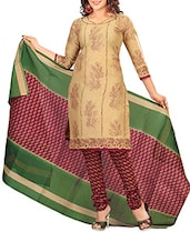 Beige Printed Poly Cotton Unstitched Suit Set - By