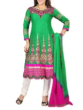 Green Cotton Embroidered Unstitched Suit Piece - By