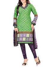 Green Cotton Printed Unstitched Suit Piece - By