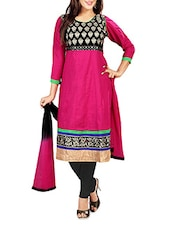 Pink Cambric Cotton Embroidered Unstitched Suit Set - By