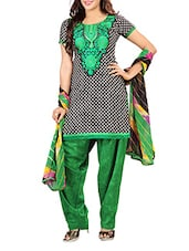 Black And Green American Crepe Embroidered Unstitched Suit Set - By