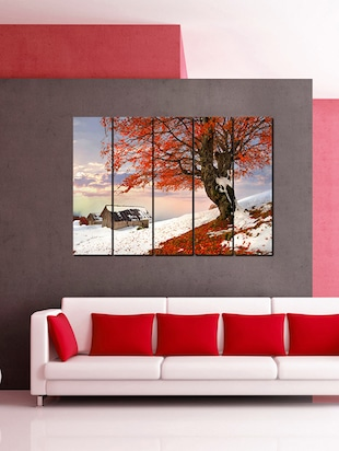 Printed Wooden Multiple Frame Printed Pink Tree In The Snow Art Panels Like Painting - 5 Frames