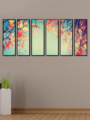 Printed Multiple Framed Yellow Leaves Tree Art Panels Wall Painting- 6 Frames