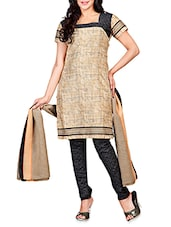 Beige Embroidered Poly Cotton Semi Stitched Suit - By