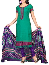 Green Embroidered Poly Cotton Semi Stitched Suit - By
