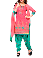 Pink Embroidered Chanderi Cotton Semi Stitched Suit - By - 1238405
