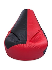 Black And Red Leatherette Bean Bag Cover Without Beans - By