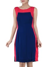 Navy Blue Colour-Blocked Sheath Dress - By