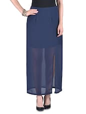 Navy Blue Poly-georgette Slit Skirt - By