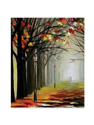Multicolor frameless canvas tree along the lane painting