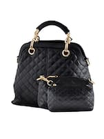 black leatherette quilted handbag, sling and pouch combo (set of 3) -  online shopping for handbags