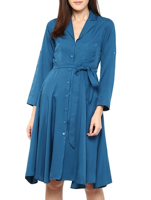 solid blue crepe shirt dress