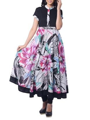 multicolored black cotton anarkali kurta