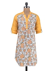 Yellow And White Cotton Floral Print Kurti - By