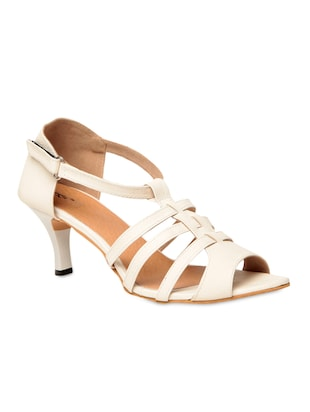 White leatherette heel sandals