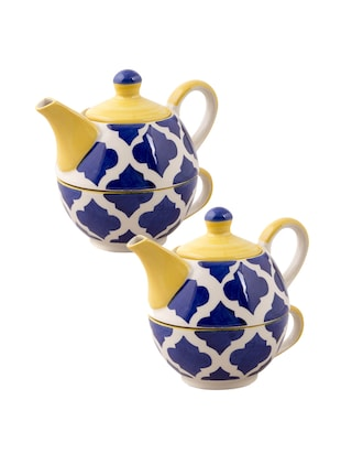 VarEesha Blue Ceramic Cup Handcrafted By Rural Artisans  with Kettle Set of 2