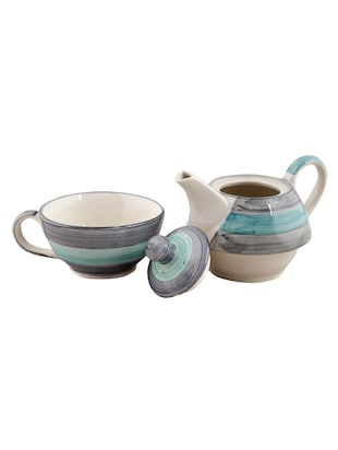 VarEesha Twirling Green Hand crafted By Rural Artisans  Ceramic Cup with Kettle Set of 2 - 12399431 - Standard Image - 2