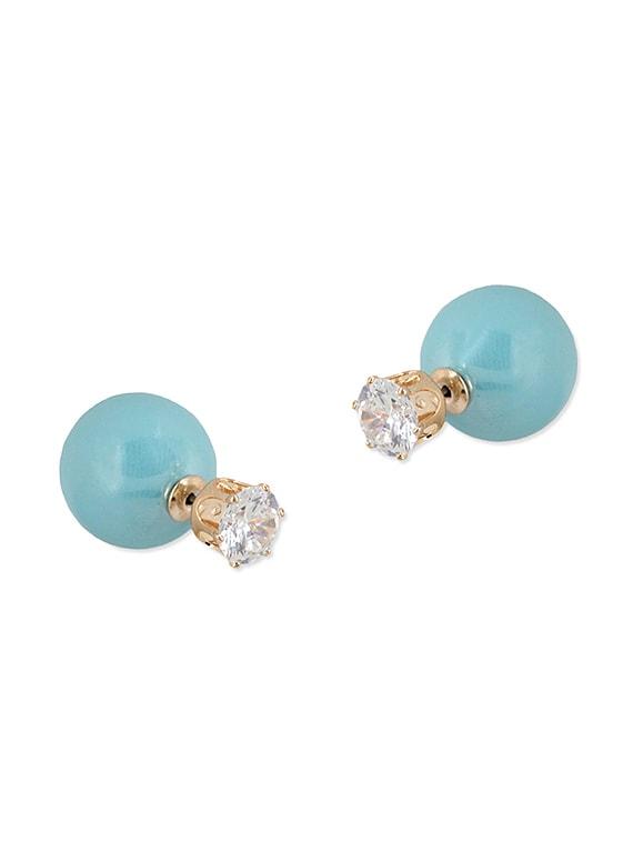Blue Brass Stud Earrings - By