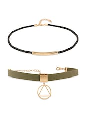 Black And Olive Choker (Set Of 2) - By