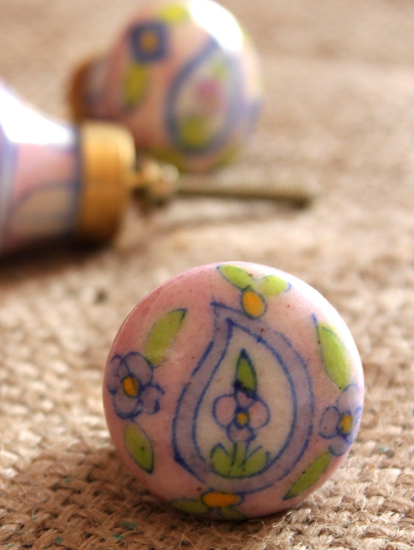 Pink Paisley Cabinet Knobs (Set Of 6) - NEERJA