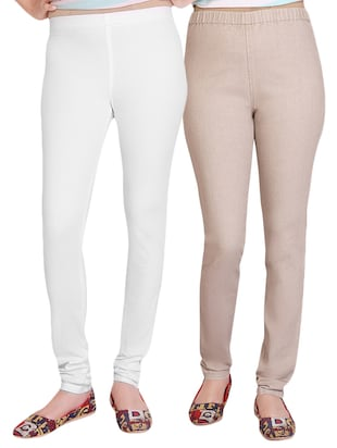 Beige,White Stretchable Denim  Jeggings(Pack of 2)