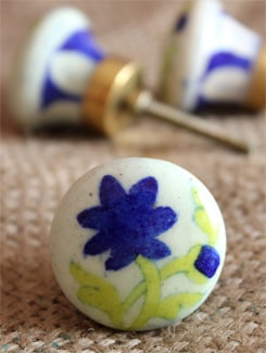 White & Blue Floral Ceramic Knobs (Set Of 6) - NEERJA