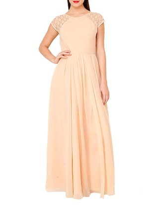solid beige georgette gown dress